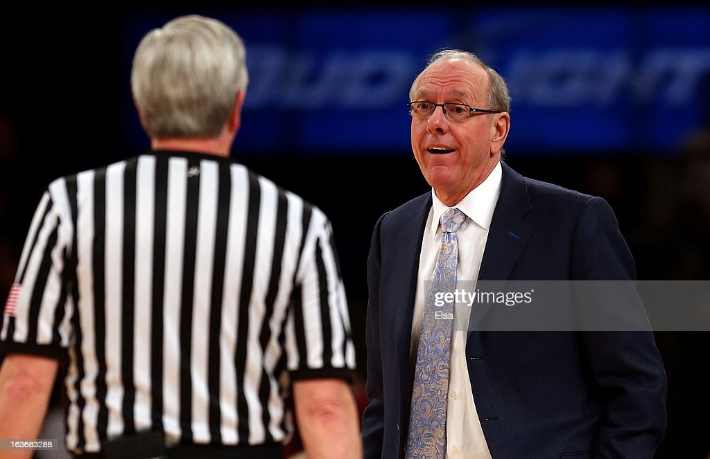 Head coach Jim Boeheim of the Syracuse Orange argues with a referee in the first half against the Pittsburgh Panthers during the quaterfinals of the Big East Men's Basketball Tournament at Madison Square Garden on March 14, 2013 in New York City.