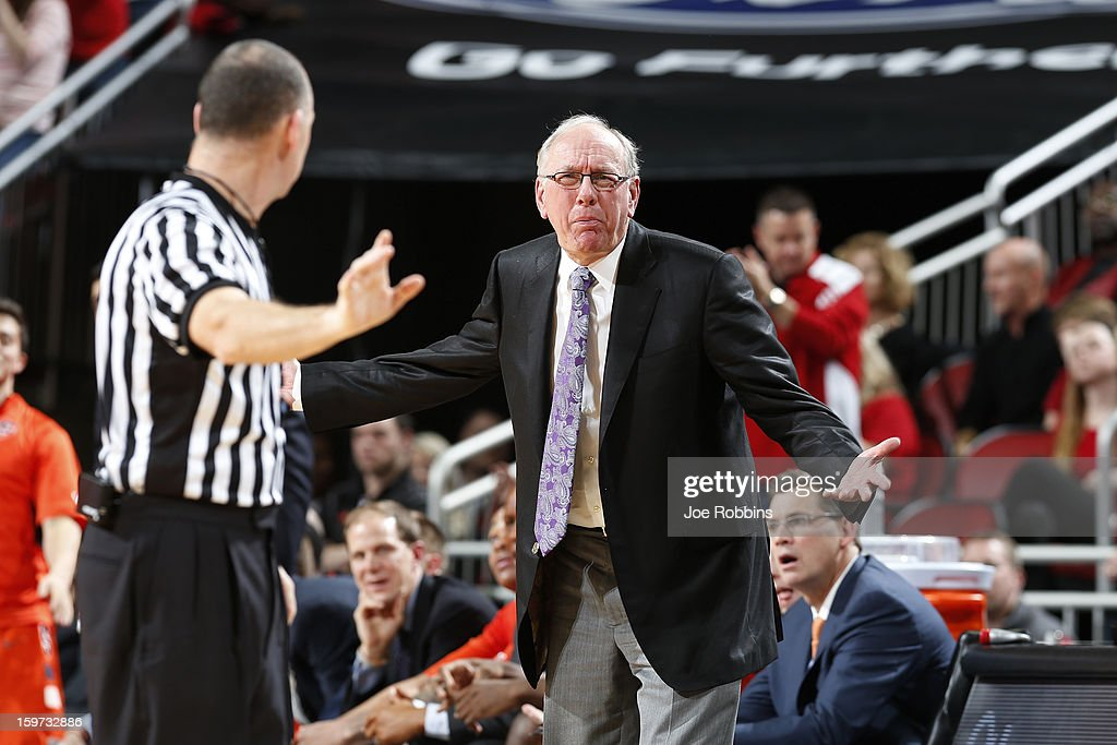 Head coach <a gi-track='captionPersonalityLinkClicked' href=/galleries/search?phrase=Jim+Boeheim&family=editorial&specificpeople=210990 ng-click='$event.stopPropagation()'>Jim Boeheim</a> of the Syracuse Orange argues with an official during the game against the Louisville Cardinals at KFC Yum! Center on January 19, 2013 in Louisville, Kentucky. Syracuse defeated Louisville 70-68.
