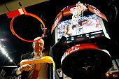 Head coach Jim Boeheim of the Syracuse Orange cuts down the net as he celebrates their 68 to 62 win over the Virginia Cavaliers during the 2016 NCAA...