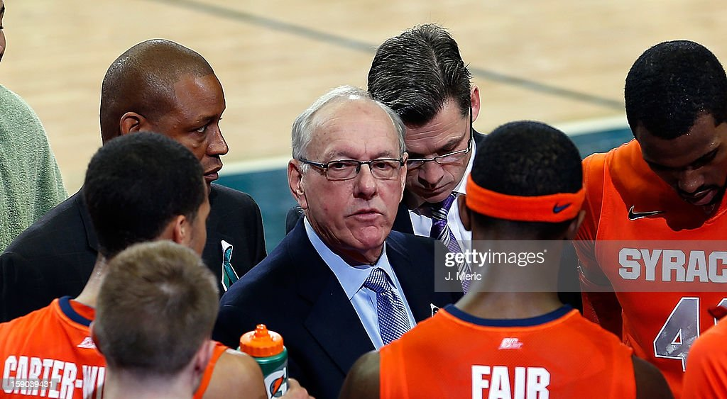 Head coach Jim Boeheim of the Syracuse Orange directs his team against the South Florida Bulls during the game at the Sun Dome on January 6, 2013 in Tampa, Florida.
