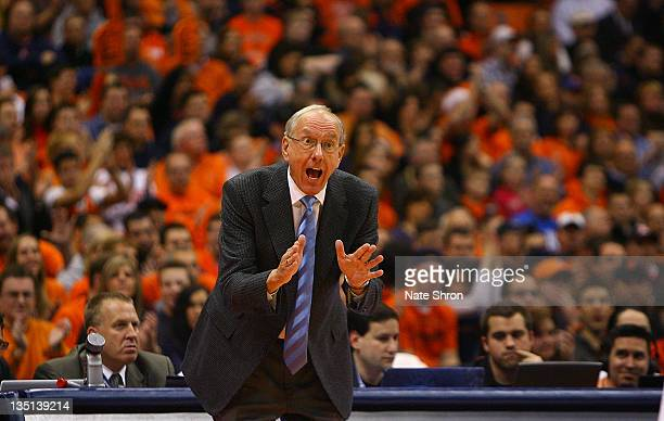 Head coach Jim Boeheim of the Syracuse Orange gestures to players on the court during the game against the Marshall Thundering Herd at the Carrier...