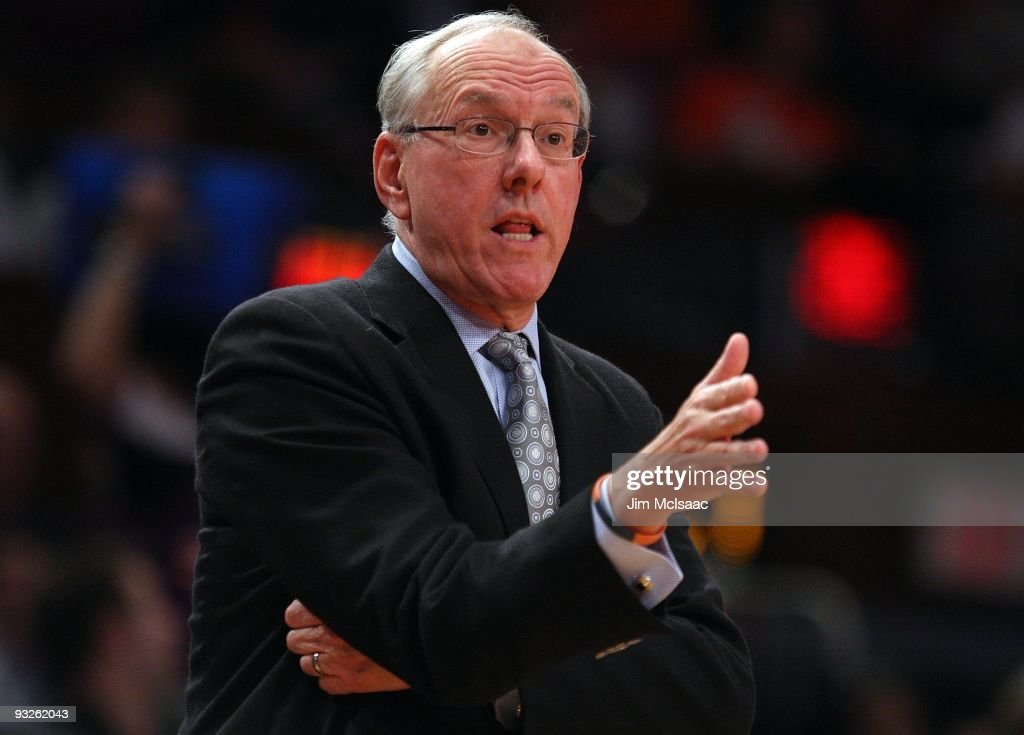 Head coach <a gi-track='captionPersonalityLinkClicked' href=/galleries/search?phrase=Jim+Boeheim&family=editorial&specificpeople=210990 ng-click='$event.stopPropagation()'>Jim Boeheim</a> of the Syracuse Orange looks on against the California Golden Bears during their semifinal game of the 2K Sports Classic on November 19, 2009 at Madison Square Garden in New York City.