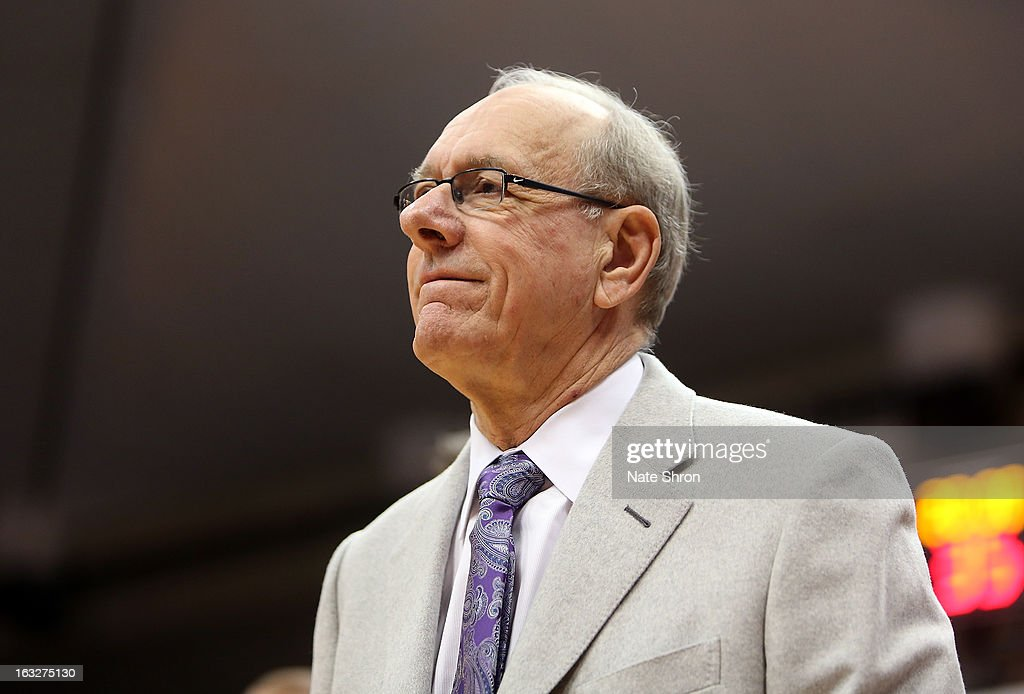 Head coach Jim Boeheim of the Syracuse Orange looks on as he arrives courtside prior to a game against the DePaul Blue Demons at the Carrier Dome on March 6, 2013 in Syracuse, New York.