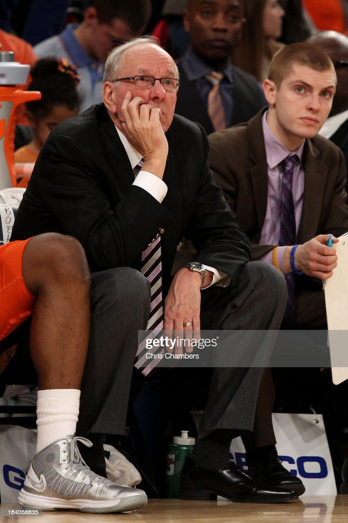 Head coach Jim Boeheim of the Syracuse Orange looks on from the bench in the second half against the Louisville Cardinals during the final of the Big East Men's Basketball Tournament at Madison Square Garden on March 16, 2013 in New York City.