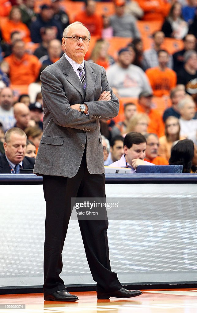 Head coach <a gi-track='captionPersonalityLinkClicked' href=/galleries/search?phrase=Jim+Boeheim&family=editorial&specificpeople=210990 ng-click='$event.stopPropagation()'>Jim Boeheim</a> of the Syracuse Orange looks on from the sideline during the game against the Colgate Raiders at the Carrier Dome on November 25, 2012 in Syracuse, New York.