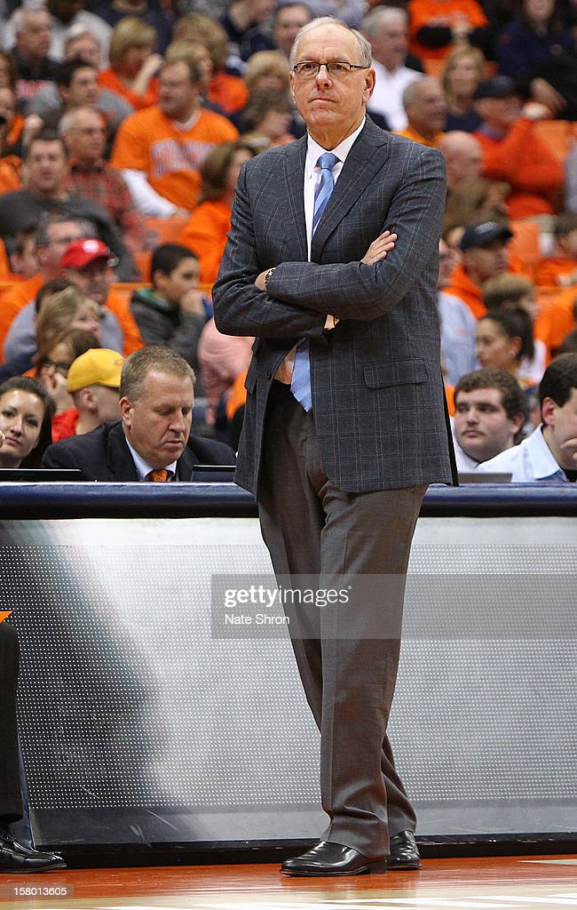 Head coach <a gi-track='captionPersonalityLinkClicked' href=/galleries/search?phrase=Jim+Boeheim&family=editorial&specificpeople=210990 ng-click='$event.stopPropagation()'>Jim Boeheim</a> of the Syracuse Orange looks on from the sideline during the game against the Monmouth Hawks at the Carrier Dome on December 8, 2012 in Syracuse, New York.