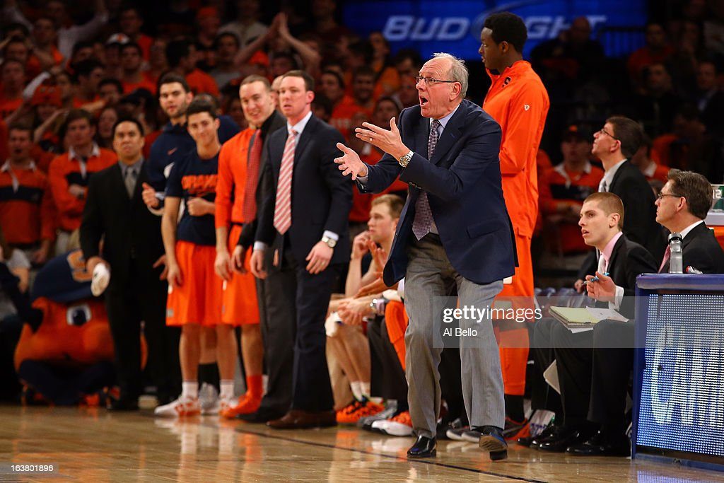 Head coach Jim Boeheim of the Syracuse Orange reacts as he coaches against the Georgetown Hoyas during the semifinals of the Big East Men's Basketball Tournament at Madison Square Garden on March 15, 2013 in New York City.