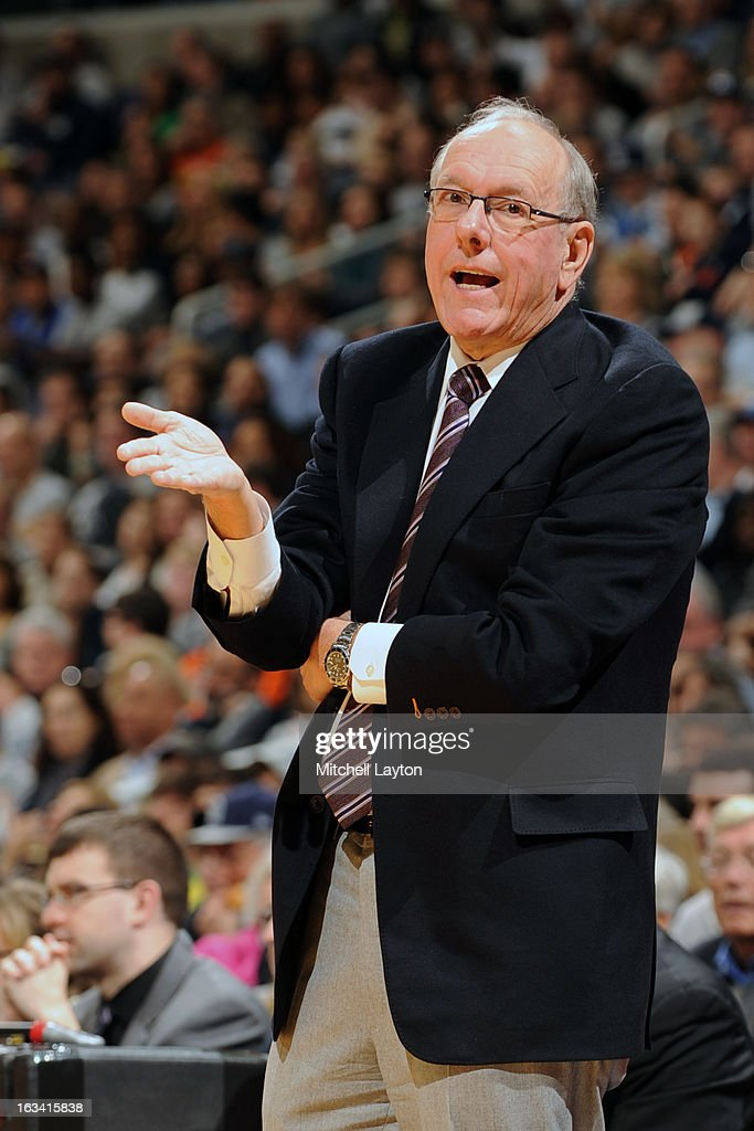 Head coach <a gi-track='captionPersonalityLinkClicked' href=/galleries/search?phrase=Jim+Boeheim&family=editorial&specificpeople=210990 ng-click='$event.stopPropagation()'>Jim Boeheim</a> of the Syracuse Orange reacts to a call during a college basketball game against the Georgetown Hoyas on March 9, 2013 at the Verizon Center in Washington, DC. The Hoyas won 61-39.