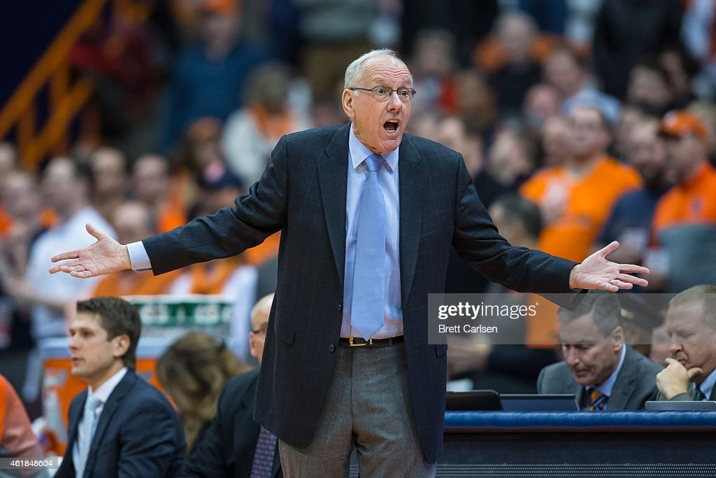 Head coach <a gi-track='captionPersonalityLinkClicked' href=/galleries/search?phrase=Jim+Boeheim&family=editorial&specificpeople=210990 ng-click='$event.stopPropagation()'>Jim Boeheim</a> of the Syracuse Orange reacts to a call during the first half against the Boston College Eagles on January 20, 2015 at The Carrier Dome in Syracuse, New York.