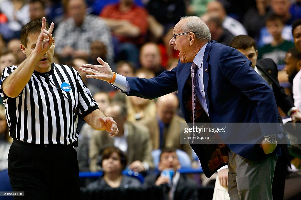 Head coach <a gi-track='captionPersonalityLinkClicked' href=/galleries/search?phrase=Jim+Boeheim&family=editorial&specificpeople=210990 ng-click='$event.stopPropagation()'>Jim Boeheim</a> of the Syracuse Orange reacts to a call in the first half against the Dayton Flyers during the first round of the 2016 NCAA Men's Basketball Tournament at Scottrade Center on March 18, 2016 in St Louis, Missouri.