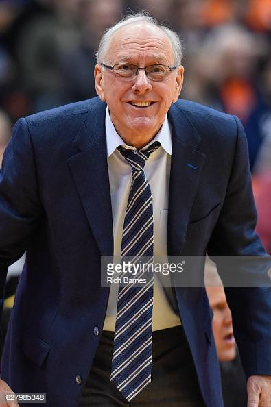 Head coach Jim Boeheim of the Syracuse Orange reacts to a call against the North Florida Ospreys during the second half at the Carrier Dome on...