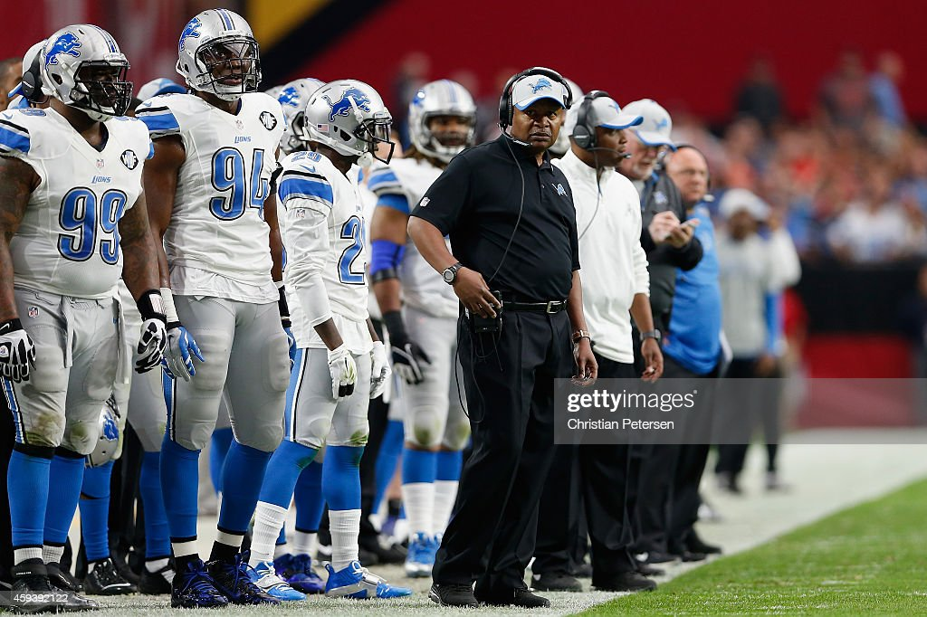 Head coach Jim Caldwell of the Detroit Lions watches the NFL game against the Arizona Cardinals from the sidelines at the University of Phoenix...