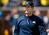 Head coach Jim Harbaugh of the Michigan Wolverines looks on during the Michigan Football Spring Game on April 4 2015 at Michigan Stadium in Ann Arbor...