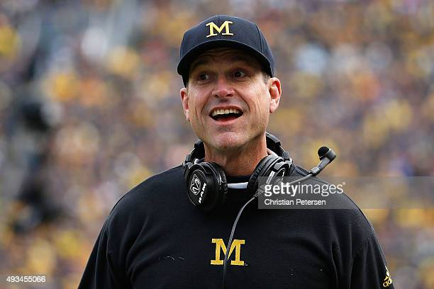 Head coach Jim Harbaugh of the Michigan Wolverines reacts during the college football game against the Michigan State Spartans at Michigan Stadium on...