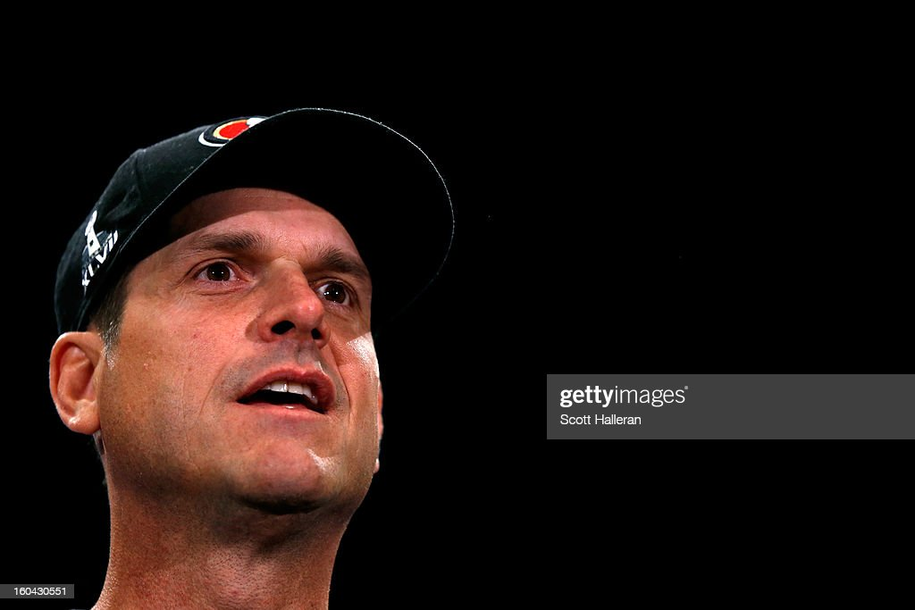 Head coach <a gi-track='captionPersonalityLinkClicked' href=/galleries/search?phrase=Jim+Harbaugh&family=editorial&specificpeople=779595 ng-click='$event.stopPropagation()'>Jim Harbaugh</a> of the San Francisco 49ers addresses the media during Super Bowl XLVII Media Availability at the New Orleans Marriott on January 31, 2013 in New Orleans, Louisiana. The 49ers will take on the Baltimore Ravens on February 3, 2013 at the Mercedes-Benz Superdome.