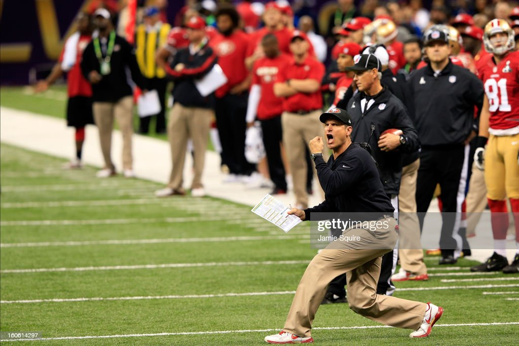 Head coach <a gi-track='captionPersonalityLinkClicked' href=/galleries/search?phrase=Jim+Harbaugh&family=editorial&specificpeople=779595 ng-click='$event.stopPropagation()'>Jim Harbaugh</a> of the San Francisco 49ers reacts after a play in the first half against the Baltimore Ravens during Super Bowl XLVII at the Mercedes-Benz Superdome on February 3, 2013 in New Orleans, Louisiana.
