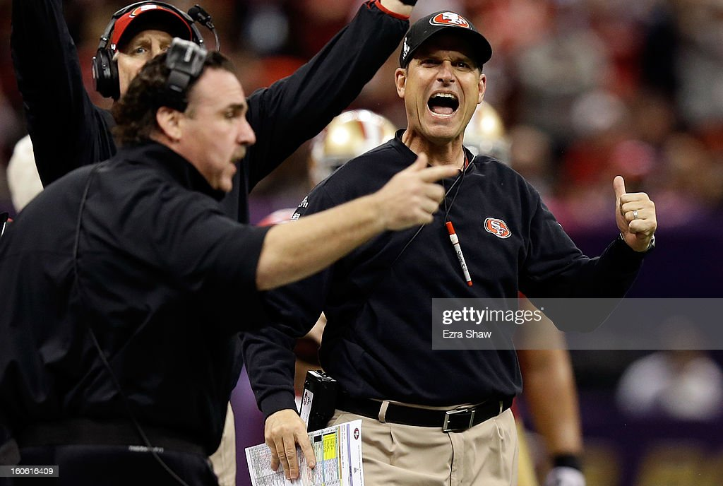 Head coach <a gi-track='captionPersonalityLinkClicked' href=/galleries/search?phrase=Jim+Harbaugh&family=editorial&specificpeople=779595 ng-click='$event.stopPropagation()'>Jim Harbaugh</a> of the San Francisco 49ers reacts after a play in the second quarter against the Baltimore Ravens during Super Bowl XLVII at the Mercedes-Benz Superdome on February 3, 2013 in New Orleans, Louisiana.