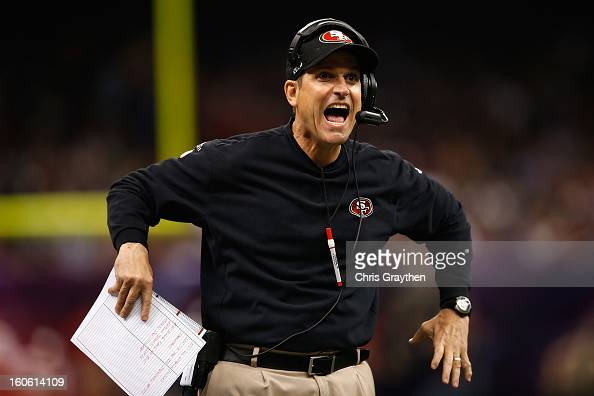 Head coach Jim Harbaugh of the San Francisco 49ers reacts to a play in the first quarter against the Baltimore Ravens during Super Bowl XLVII at the...
