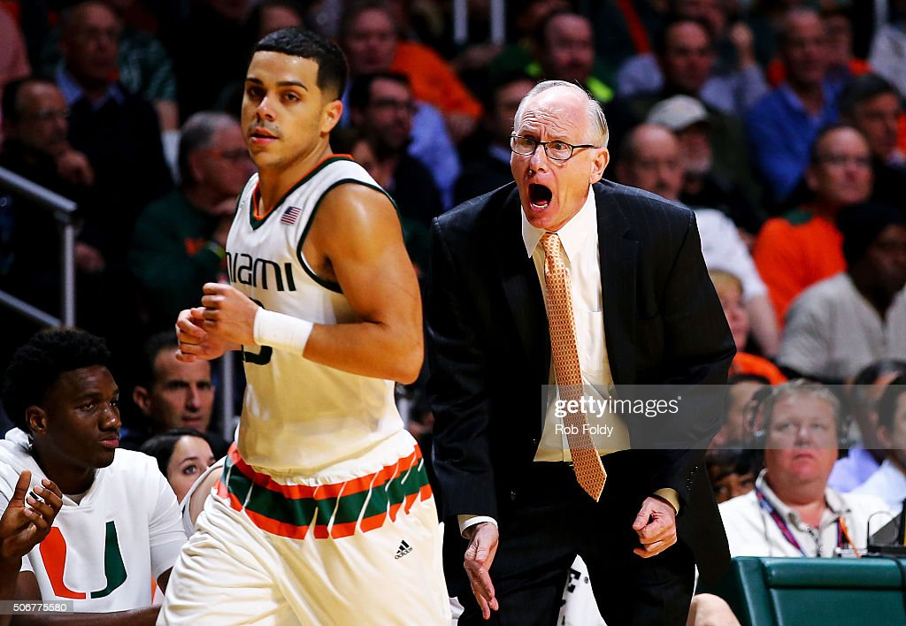 Head coach Jim Larraaga of the Miami Hurricanes yells at Angel Rodriguez during the game against the Duke Blue Devils at the BankUnited Center on...