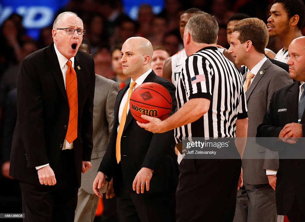 Head coach <a gi-track='captionPersonalityLinkClicked' href=/galleries/search?phrase=Jim+Larranaga&family=editorial&specificpeople=694107 ng-click='$event.stopPropagation()'>Jim Larranaga</a> of the Miami Hurricanes argues a call against the Stanford Cardinal during the NIT Championship at Madison Square Garden on April 2, 2015 in New York City.
