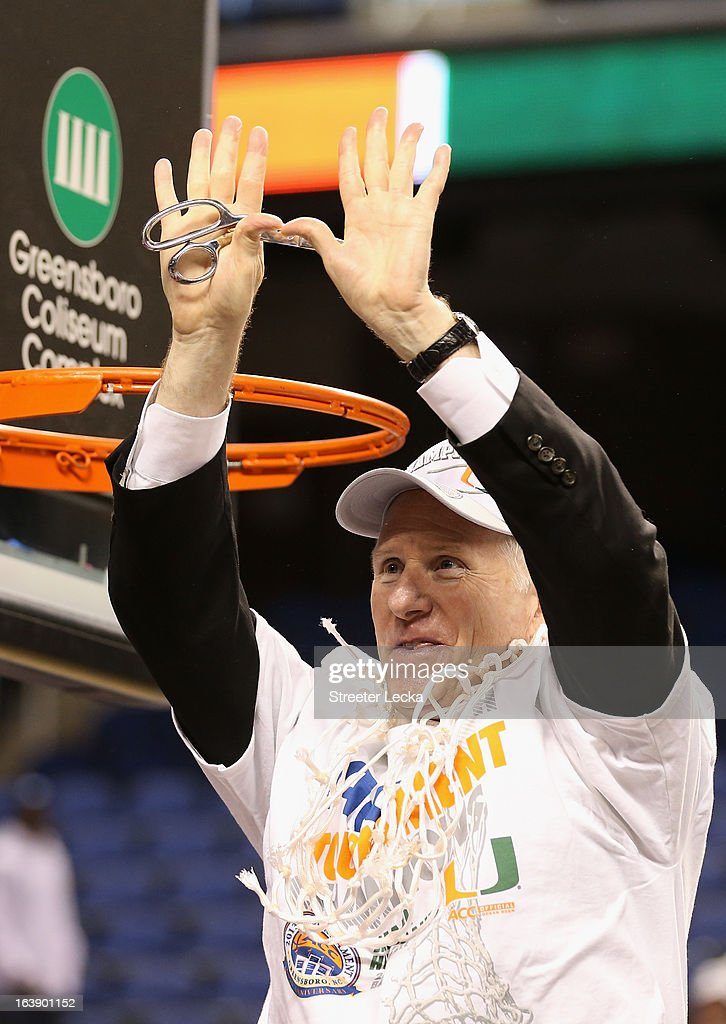 Head coach Jim Larranaga of the Miami Hurricanes celebrates after defeating the North Carolina Tar Heels 87-77 during the finals of the Men's ACC Basketball Tournament at Greensboro Coliseum on March 17, 2013 in Greensboro, North Carolina.