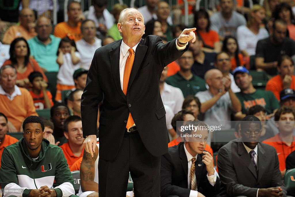 Head Coach Jim Larranaga of the Miami Hurricanes directs his team against the North Carolina Tar Heels at the BankUnited Center on February 9, 2013 in Coral Gables, Florida. Miami defeated North Carolina 87-61.