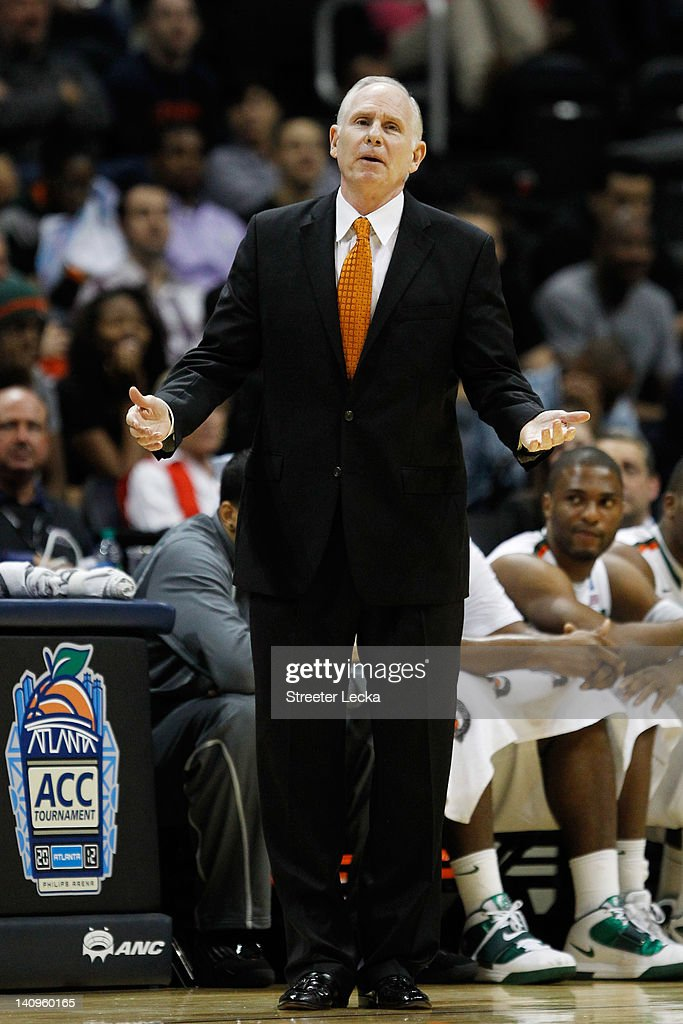 Head Coach <a gi-track='captionPersonalityLinkClicked' href=/galleries/search?phrase=Jim+Larranaga&family=editorial&specificpeople=694107 ng-click='$event.stopPropagation()'>Jim Larranaga</a> of the Miami Hurricanes reacts against the Georgia Tech Yellow Jackets during their first round game of 2012 ACC Men's Basketball Conferene Tournament at Philips Arena on March 8, 2012 in Atlanta, Georgia.