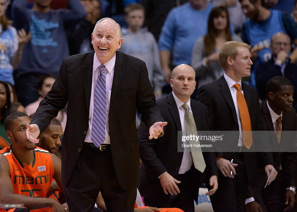 Head coach <a gi-track='captionPersonalityLinkClicked' href=/galleries/search?phrase=Jim+Larranaga&family=editorial&specificpeople=694107 ng-click='$event.stopPropagation()'>Jim Larranaga</a> of the Miami Hurricanes reacts during a game against the North Carolina Tar Heels at the Dean Smith Center on January 8, 2014 in Chapel Hill, North Carolina. Miami won 63-57.