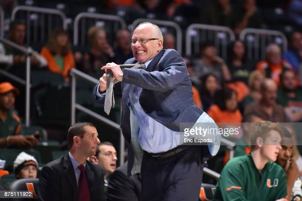 Head coach Jim Larranaga of the Miami Hurricanes reacts during the second half of the game against the Florida AM Rattlers at The BankUnited Center...