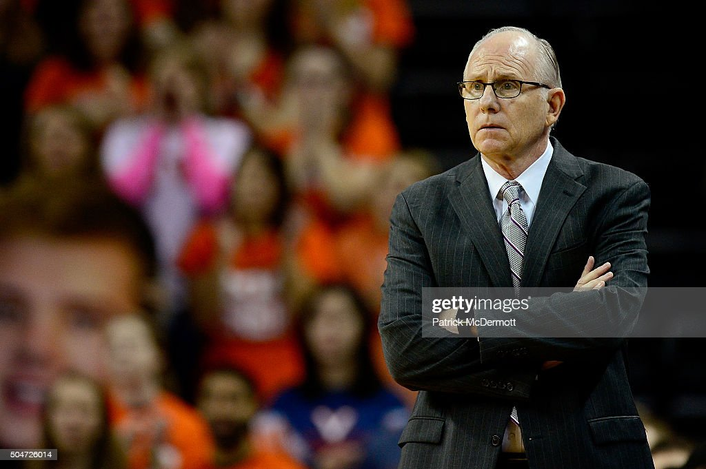 Head coach <a gi-track='captionPersonalityLinkClicked' href=/galleries/search?phrase=Jim+Larranaga&family=editorial&specificpeople=694107 ng-click='$event.stopPropagation()'>Jim Larranaga</a> of the Miami Hurricanes reacts in the first half during a game against the Virginia Cavaliers at John Paul Jones Arena on January 12, 2016 in Charlottesville, Virginia.