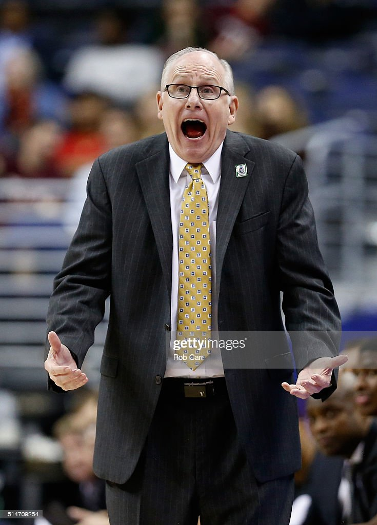 Head coach <a gi-track='captionPersonalityLinkClicked' href=/galleries/search?phrase=Jim+Larranaga&family=editorial&specificpeople=694107 ng-click='$event.stopPropagation()'>Jim Larranaga</a> of the Miami Hurricanes reacts to a call in the second half of their 88-82 win over the Virginia Tech Hokies during the quarterfinals of the 2016 ACC Basketball Tournament Verizon Center on March 10, 2016 in Washington, DC.