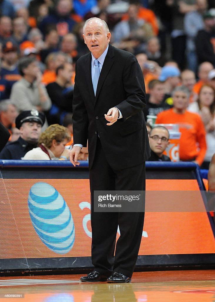 Head coach <a gi-track='captionPersonalityLinkClicked' href=/galleries/search?phrase=Jim+Larranaga&family=editorial&specificpeople=694107 ng-click='$event.stopPropagation()'>Jim Larranaga</a> of the Miami Hurricanes reacts to a call against the Syracuse Orange during the second half at the Carrier Dome on January 4, 2014 in Syracuse, New York. Syracuse defeated Miami 49-44.