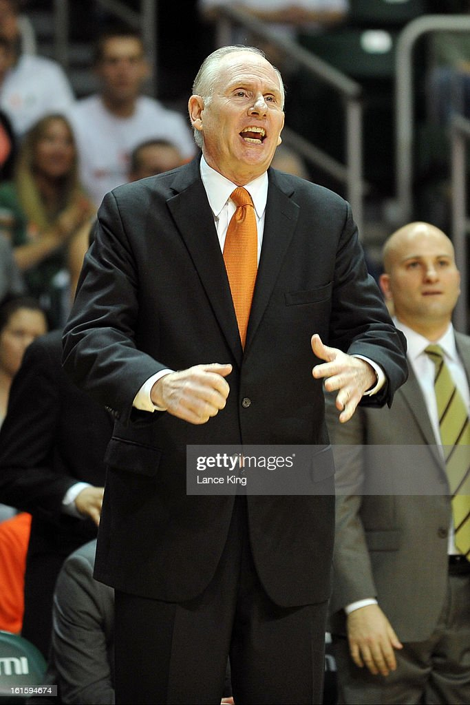 Head Coach Jim Larranaga of the Miami Hurricanes reacts to a play during a game against the North Carolina Tar Heels at the BankUnited Center on February 9, 2013 in Coral Gables, Florida. Miami defeated North Carolina 87-61.