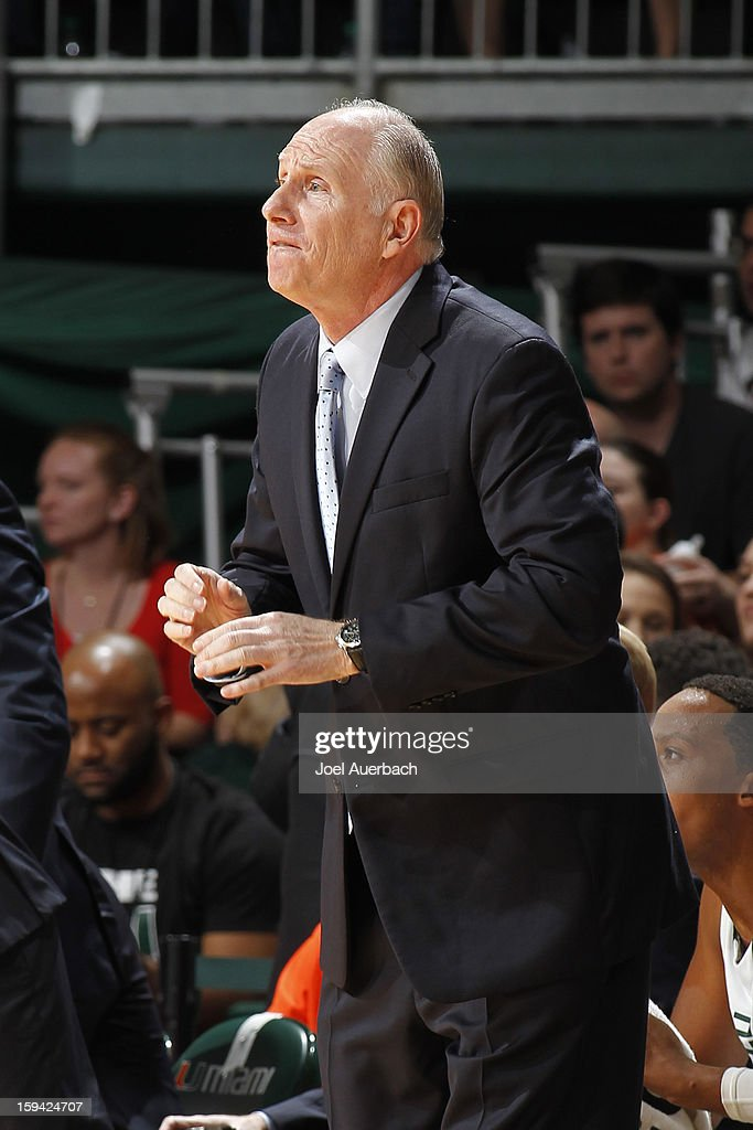 Head coach <a gi-track='captionPersonalityLinkClicked' href=/galleries/search?phrase=Jim+Larranaga&family=editorial&specificpeople=694107 ng-click='$event.stopPropagation()'>Jim Larranaga</a> of the Miami Hurricanes reacts to first half action against the Maryland Terrapins on January 13, 2013 at the BankUnited Center in Coral Gables, Florida.