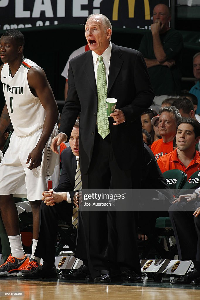 Head coach <a gi-track='captionPersonalityLinkClicked' href=/galleries/search?phrase=Jim+Larranaga&family=editorial&specificpeople=694107 ng-click='$event.stopPropagation()'>Jim Larranaga</a> of the Miami Hurricanes reacts to game action against the Clemson Tigers on March 9, 2013 at the BankUnited Center in Coral Gables, Florida. The Hurricanes defeated the Tigers 62-49 and won the Atlantic Coast Conference Championship.