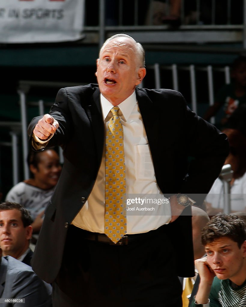 Head coach <a gi-track='captionPersonalityLinkClicked' href=/galleries/search?phrase=Jim+Larranaga&family=editorial&specificpeople=694107 ng-click='$event.stopPropagation()'>Jim Larranaga</a> of the Miami Hurricanes reacts to second half action against the Savannah State Tigers on December 8, 2014 at the BankUnited Center in Coral Gables, Florida. Miami defeated Savannah State 70-39.