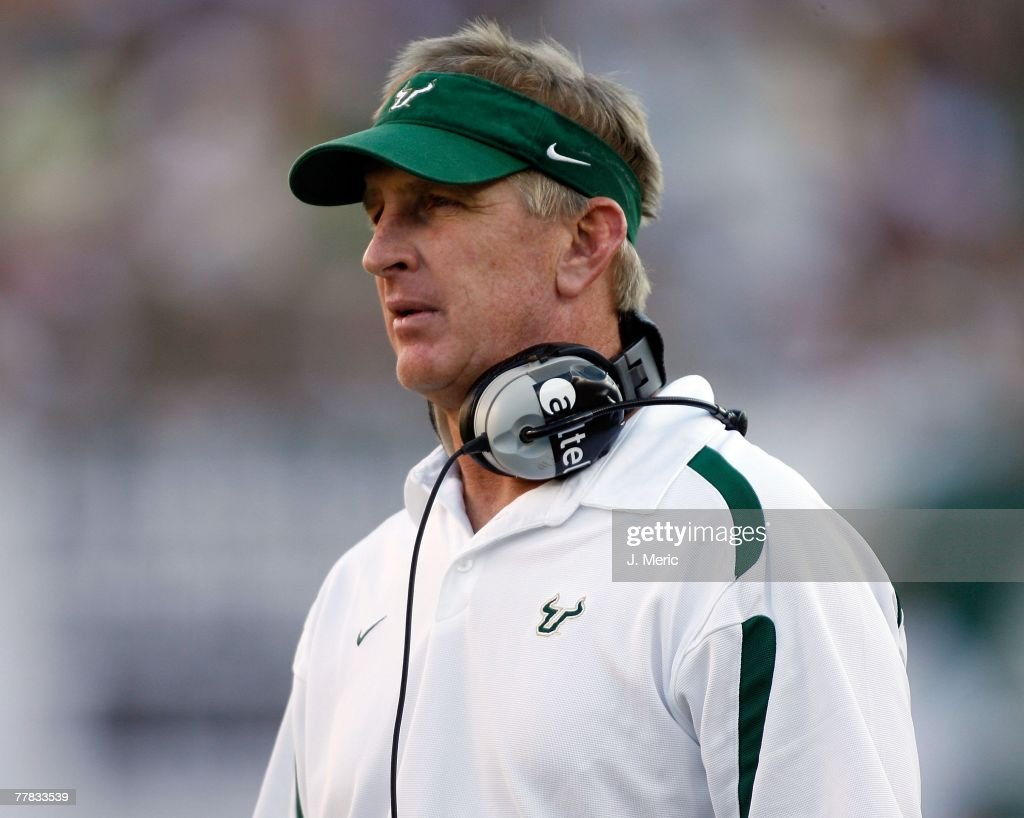 Head Coach Jim Leavitt of the South Florida Bulls directs his team during the game against the Cincinnati Bearcats on November 3 2007 at Raymond...