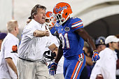 Head coach Jim McElwain celebrates after a touchdown by Antonio Callaway of the Florida Gators against the LSU Tigers at Tiger Stadium on October 17...