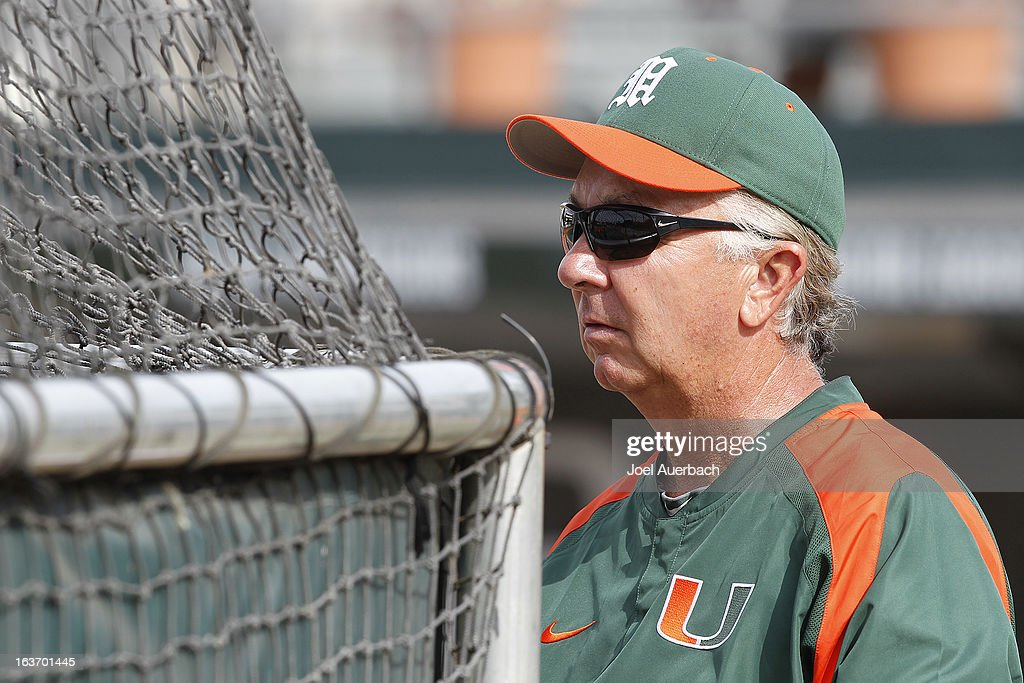 Head coach Jim Morris #3 of the Miami Hurricanes watches the players take batting practice prior to the game against the Illinois State Redbirds on March 13, 2013 at Alex Rodriguez Park at Mark Light Field in Coral Gables, Florida. The Hurricanes defeated the Redbirds 9-2.
