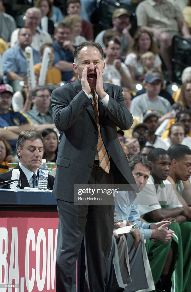 Head coach Jim O'Brien of the Boston Celtics yells from the sideline during the game against the Indiana Pacers in Game one of the Eastern Conference...