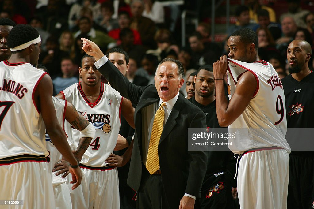 Head coach Jim O'Brien of the Philadephia 76ers yells while facing the Seattle Sonics on November 16 2004 at the Wachovia Center in Philadelphia...