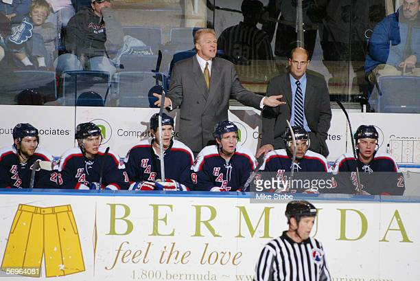 Head coach Jim Schoenfeld of the Hartford Wolf Pack reacts to a call during the game against the Bridgeport Sound Tigers at the Arena at Harbor Yard...