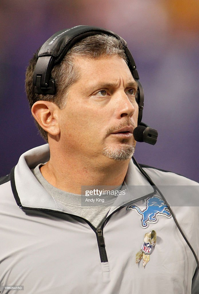 Head coach Jim Schwartz of the Detroit Lions during the game with the Minnesota Vikings on November 11, 2012 at Mall of America Field at the Hubert H. Humphrey Metrodome in Minneapolis, Minnesota. The Vikings defeated the Lions 34-24.