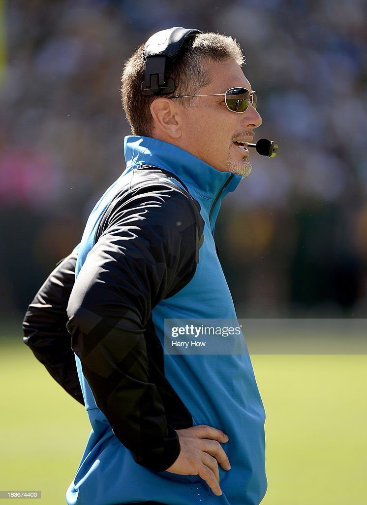 Head coach Jim Schwartz of the Detroit Lions on the sidelines during the second quarter against the Green Bay Packers at Lambeau Field on October 6, 2013 in Green Bay, Wisconsin.