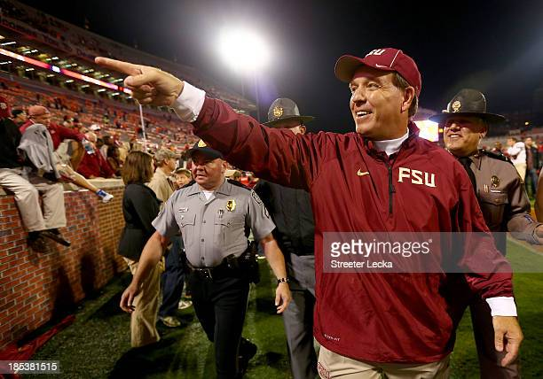 Head coach Jimbo Fisher celebrates after defeating the Clemson Tigers 5114 at Memorial Stadium on October 19 2013 in Clemson South Carolina