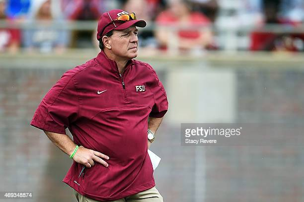 Head coach Jimbo Fisher of the Florida State Seminole watches action during Florida State's Garnet and Gold spring game at Doak Campbell Stadium on...