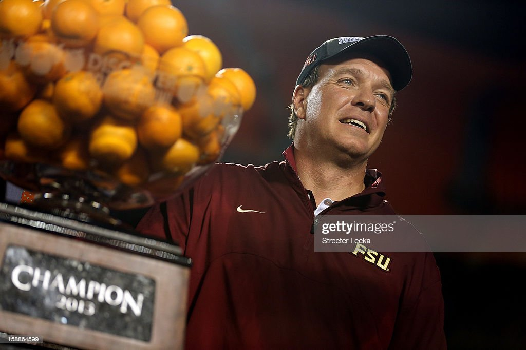 Head coach Jimbo Fisher of the Florida State Seminoles celebrates after they won 31-10 against the Northern Illinois Huskies during the Discover Orange Bowl at Sun Life Stadium on January 1, 2013 in Miami Gardens, Florida.