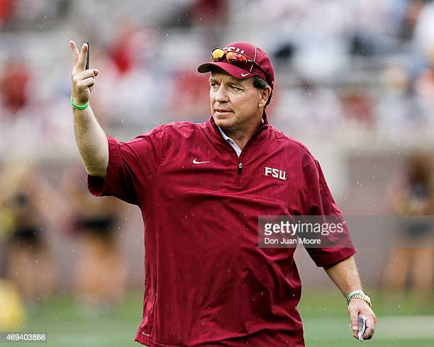 Head Coach Jimbo Fisher of the Florida State Seminoles during the spring game at Doak Campbell Stadium on Bobby Bowden Field on April 11 2015 in...