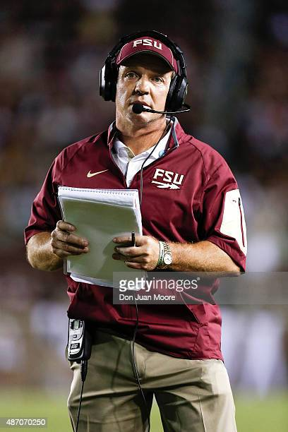 Head Coach Jimbo Fisher of the Florida State Seminoles during the game against the Texas State Bobcats at Doak Campbell Stadium on Bobby Bowden Field...
