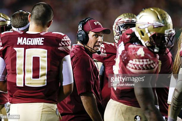 Head Coach Jimbo Fisher of the Florida State Seminoles during the game against the Miami Hurricanes at Doak Campbell Stadium on Bobby Bowden Field on...